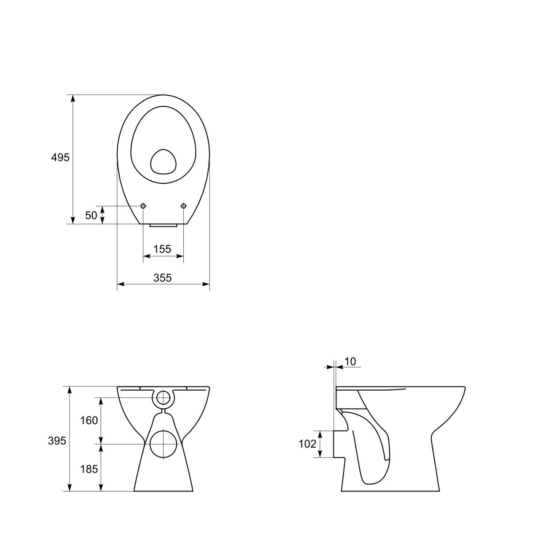 domino keramik stand wc toilette 51386 ablauf waagerecht tiefsp ler ebay. Black Bedroom Furniture Sets. Home Design Ideas