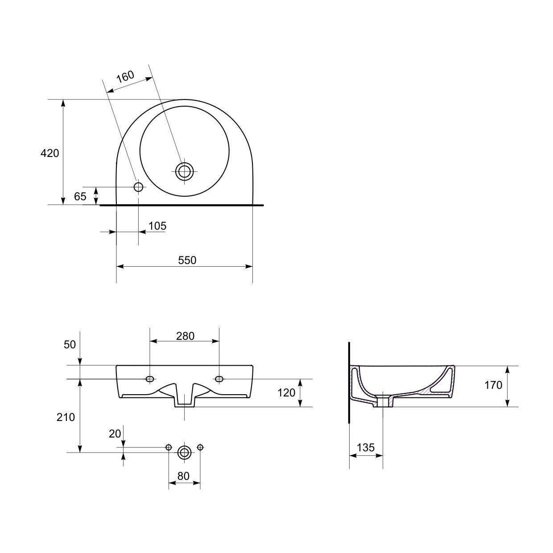 domino keramik waschbecken weiss 55 cm 67987 waschtisch handwaschbecken ebay. Black Bedroom Furniture Sets. Home Design Ideas